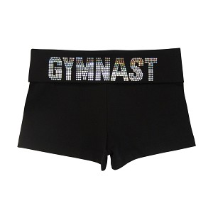 Black Hologram Spangle GYMNAST Foldover Shorts