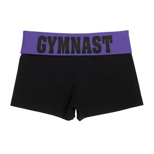 Black/Purple Foldover Shorts
