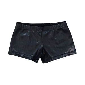 Black Hologram Velvet Shorts