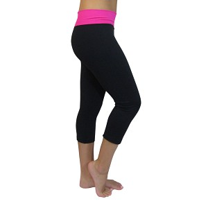 Black/Hot Pink Basic Yoga Capris