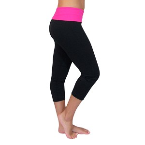 Black/Hot Pink Foldover Yoga Capris
