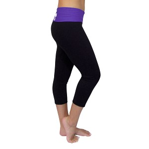 Black/Purple Foldover Yoga Capris