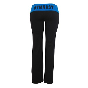 Black/Blue Foldover Yoga Pants